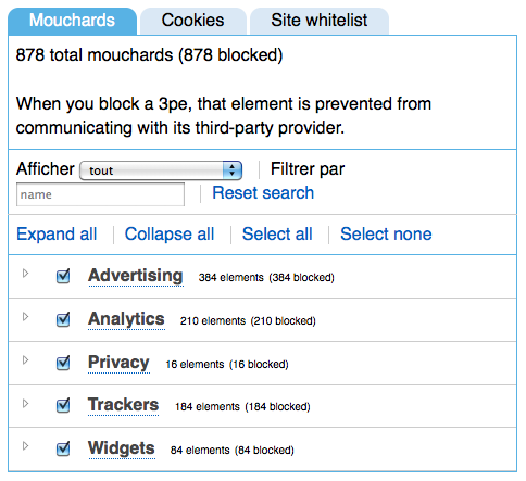 Ghostery bloque les scripts espions