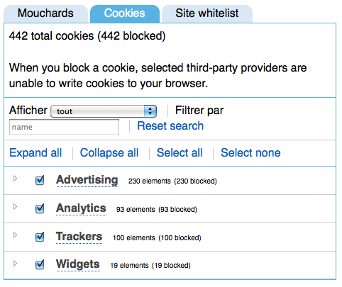 Ghostery bloque des cookies